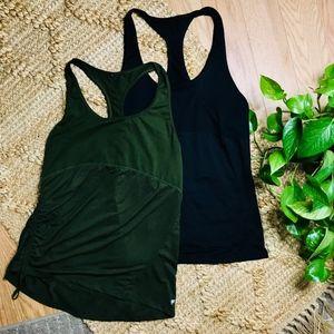 2 Fabletics Workout racer back green & black tanks